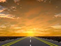 vägsolnedgång till Arkivbilder