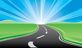 vägsoluppgång till Arkivbild