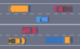 Vägtrafik Fritt flöde av maskiner på engränd väg Olik bil på huvudvägen royaltyfri illustrationer