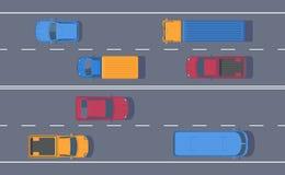 Vägtrafik Fritt flöde av maskiner på engränd väg Olik bil på huvudvägen stock illustrationer