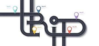 Vägtur och resarutt Affären och resan Infographic planlägger mallen med Stift-pekare och förlägger för dina data Arkivfoton
