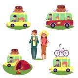 Vägtur som campar, folk som reser med bilen, buss royaltyfri illustrationer
