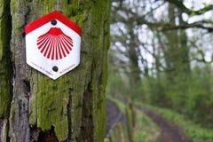 Vägvisare av den Sanka James Way i Belgien Royaltyfri Bild