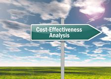 VägvisareKosta-effektivitet analys arkivbild