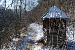 Väl med istappar i skogen bland bergmaxima arkivfoto