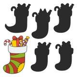 Välfylld julstrumpa vektor illustrationer