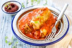 Välfylld kål med tomatsås Royaltyfria Foton