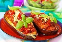 välfylld tomat för auberginemeatsås Arkivfoto