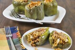 Välfyllda gröna spanska peppar Royaltyfri Bild
