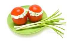 välfyllda tomater för ostkräm Arkivfoto