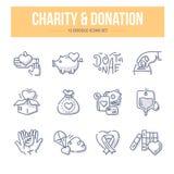 Välgörenhet- & donationklottersymboler stock illustrationer