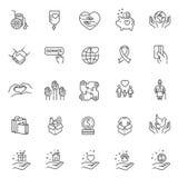 Välgörenhet - modern vektorlinje designsymbols- och pictogramsuppsättning Fotografering för Bildbyråer