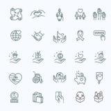 Välgörenhet - modern vektorlinje designsymbols- och pictogramsuppsättning Royaltyfri Fotografi