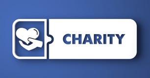 Välgörenhetbegrepp på blått i plan designstil. royaltyfri illustrationer