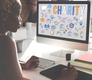 Välgörenhethjälp ger omsorghopp donerar begrepp arkivbild