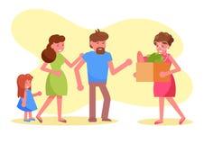 Välgörenhetvolontären donerar ett mål till en fattig familjvektor cartoon Isolerad konst stock illustrationer