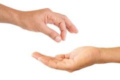 Välj och motta handen Arkivbilder