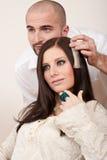 välj professionelln för frisören för färgfärghår Royaltyfria Bilder