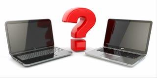 Välja en bärbar dator. Frågetecken och bärbara datorer. stock illustrationer