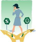 Välja mellan pengar och happynes Arkivfoton