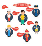 Välja yrke, polis, byggnadsarbetare, kock, brandman, stock illustrationer