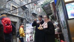Välkänd turist- destination, Tian Zi Fang Street, Shanghai Royaltyfria Foton