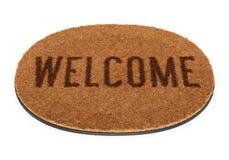 Välkommen dörrmatta för Oval Royaltyfri Bild