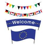 Välkommen flagga och baner av den europeiska unionen, festliga flaggor Arkivbild
