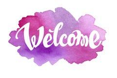 Välkommen hand dragen bokstäver mot vattenfärg Royaltyfri Fotografi
