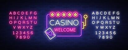 Välkommen logo för kasino i neonstil mall för restaurang för begreppsdesign Neontecken, ljust baner, ljus ljus advertizing för ne Royaltyfria Foton