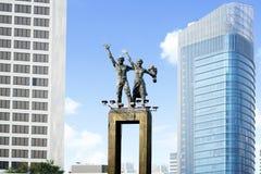 Välkommen monument i centrala Jakarta Arkivbilder