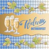 Välkommen Oktoberfest inskrift, filialer av flygturer och öl vektor illustrationer
