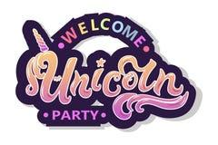 Välkommen Unicorn Party text som logotypen, emblemet, lappen och symbolen som isoleras på vit bakgrund vektor illustrationer