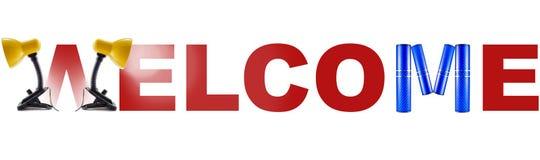 Välkommet baner för Red - tecken Fotografering för Bildbyråer