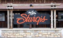Välkommet tecken Sturgis, South Dakota royaltyfri bild