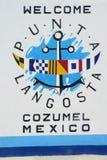 Välkommet tecken till Cozumel Mexico Arkivbilder