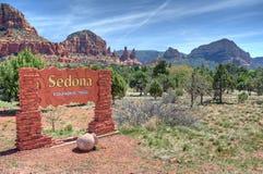Välkommet tecken till Sedona Arizona Royaltyfri Foto