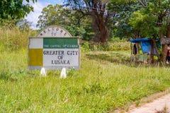 Välkommet underteckna in Lusaka Arkivfoto