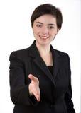 välkomna för affärskvinna Arkivfoto