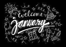 Välkomna Januari vektor illustrationer