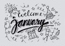 Välkomna Januari royaltyfri illustrationer