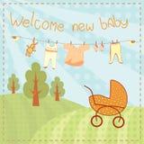 Välkomna nya behandla som ett barn hälsningkortet Arkivbilder