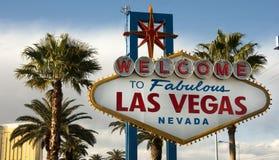 Välkomna till Las Vegas Nevada Skyline City Limit Street tecknet Royaltyfri Foto