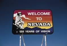 Välkomna till Nevada vägmärket Royaltyfri Bild