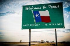 Välkomna till Texas vägmärket royaltyfria bilder