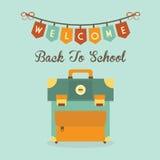 Välkomna tillbaka till meddelandet för skolabanret med den retro symbolen för skolapåsen stock illustrationer