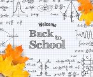 Välkomna tillbaka till skolan med formel i anteckningsbok stock illustrationer