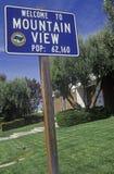 välkomnande för ï¿ ½ till tecknet för ½ för bergViewï ¿, Mountain View, Silicon Valley, Kalifornien Royaltyfri Foto