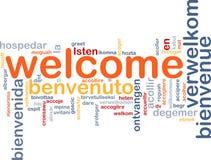 välkomnande för bakgrundsbegreppsspråk Arkivbild