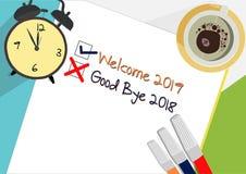 Välkomnande 2019 - för plansymbol för farväl 2018 begrepp stock illustrationer